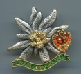 Tiroler Kaiserjäger Reg Badge.Dimensions: 39x39 mm Finish: Silver and antiqued with gilded details