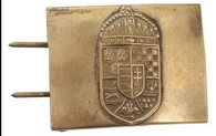 Austro-Hungarian M15 belt buckle for Hungarian Honved. The buckle is made of brass, it fits 5 cm wide belts.