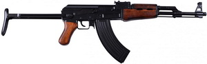 AK47 Kalashnikov, version with folding handle for paratrooppers. 1: 1 scale, wood and metal, length 88 cm, weight 4,090g. 