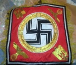 Hitler's banner, 70x70cm, double layer, handmade with satin cloth and details of tinsel wire