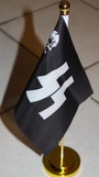desktop flag 36 cm high, with rod and metal base and flag of canvas 21x14 cm