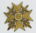 Gold Spanish cross with swords and diamonds