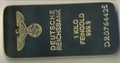 Gold bar replica of the Nazi state, 200 g of weight, 10 cm L X 45 mm W X 7 mm H, gold plated