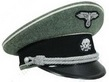 Waffen SS Officers Visor Cap in field grey wool with white piping, black velvet band, black peak and comes complete with cap cord, cloth eagle and skull badge.