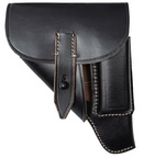Perfect replica of Walther PPK holster. Made of thick blackened leather, sewn with natural threads. This holsters were used by German police, anf after outbreak of World War II also by German army.