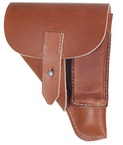 Perfect replica of Walther PPK holster. Made of thick brown leather, sewn with natural threads. This holsters were used by German police, anf after outbreak of World War II also by German army.