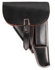 Replica of Walther P38 softshell holster. Made of black leather.