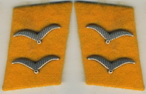Flight Acting Corporal collar tabs on golden yellow