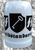 Beer stein, 13 cm high, with logos of the SS Leibstandarte