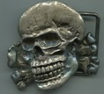 Steel skull buckle, 6x6 cm, 100 g, inspired by the famous SS skull, ideal for metalheads and motorcyclists