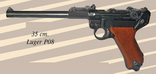 PISTOLE LUGER P08 PARABELLUM (WWII) - INERTE REPLICA, Version for the Artillery, cm 35 long<br><a class='evidenza' href='https://www.youtube.com/watch?v=amv9y49d8yk' target='_blank'>watch the tutorial</a>