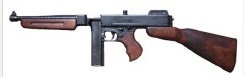 Thompson submachine gun M1928 A1. Handmade by metal and wood. 82 cm long. weight 3,745 g